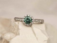 Blue Green Sapphire Engagement Ring White Gold Vintage Inspired Bridal Ring