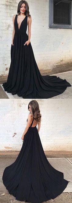 Simple A-Line V-Neck Sweep Train Black Long Prom/Evening Dress B0762