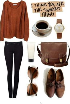 Pretty Casual Outfit Ideas for Fall & School Days, Winter Outfits, I have a pair of Oxfords I adore. I love the rust sweater. Unsure of black pants with brown accessories though. Mode Outfits, Fashion Outfits, Womens Fashion, Fashionable Outfits, Fashion Ideas, Fasion, Outfits 2016, Diy Fashion, Teen Fashion