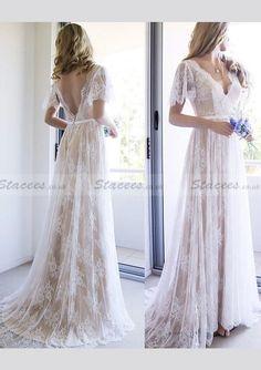 Lace Wedding Dress A-Line/Princess V-Neck Court Train!#Stacees#WeddingDress