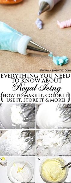 Everything you need to know about easy ROYAL ICING recipe! How to make it, How to decorate with it, How to to store it, How to color it and many more tips and tricks. From http://cakewhiz.com