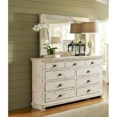 Progressive Furniture Willow Distressed White Dresser and Mirror – Dresser Decor Distressed White Bedroom Furniture, White Distressed Dresser, White Furniture, Cheap Furniture, Bathroom Furniture, Discount Furniture, Furniture Stores, Antique Furniture, Refinished Furniture