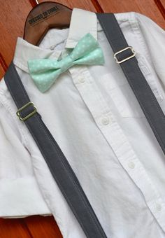 Mint Polka Dot Bowtie with Solid Grey Suspenders for baby / toddler / little boy / child.  Handmade by Dressed to Thrill, specializing in ties, bowties, and suspenders for the sweet and stylish.  www.idresstothrill.com