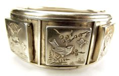 Victorian Silver Bracelet Raised BOXES With BIRDS & BUGS