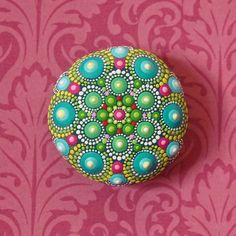 Jewel Drop Mandala Painted Stone painted by por ElspethMcLean
