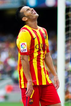 Pedro Rodriguez of FC Barcelona reacts during the La Liga match between FC Barcelona and Athletic Club at Camp Nou on September 13, 2014 in Barcelona, Catalonia.