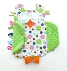 Preppy Polka Dots OWL Ribbon Tag Blankie with by LifeInTheSassLane