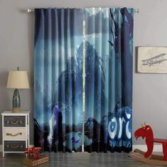 Printed Ori and the Will of the Wisps Style Custom Living Room Curt – Westbedding 3d Curtains, Custom Curtains, Blackout Curtains, Panel Curtains, Game Room, New Product, Digital Prints, 3d Printing, Printed