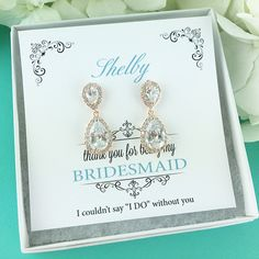 Bridesmaid Earrings Rose Gold, Personalized Bridesmaids Gift Set, Bridesmaid Earrings Teardrop Dangle, Bridesmaid Jewelry Gifts 468471099 by AllureWeddingJewelry on Etsy