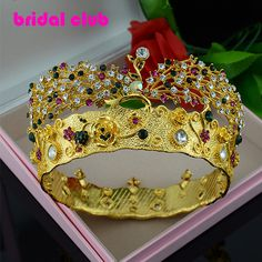 2015 New Luxury Royal Colorful Rhinestone Style Tiaras Crown Wedding Hair Jewelry Bridal Hair Accessories