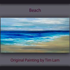 Original abstract painting Sea Art beach wave on gallery wrap canvas Ready to hang by tim Lam 48x24