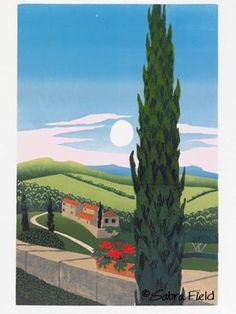 "Tuscan countryside cypress and full moon (""Luna d'Alba"" - Sabra Field, Printmaker)"