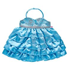 Quince años is a BEARY big milestone - it's time to celeBEARate! Your furry friend will look simply stunning in this blue quinceañera dress for stuffed animals. My Life Doll Stuff, Baby Doll Set, Build A Bear Outfits, Jojo Siwa Birthday, Princess Toys, Birthday Dresses, Quinceanera Dresses, Night Gown, Dress Making