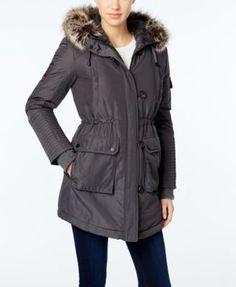 BCBGeneration Faux-Fur-Trim Hooded Puffer Parka   macys.com