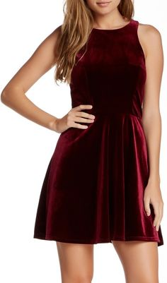 Socialite Juniors Velvet Skater Dress