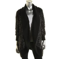 Catherine Malandrino Womens Faux Fur Open Front Coat