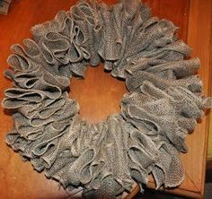 This Looks WAY TOO EASY! Scrunch burlap ribbon, poke a wire hanger through the layers, twist, fluff and beautify, done. Wreaths For Sale, Fall Wreaths, How To Make Wreaths, Mesh Wreaths, Christmas Wreaths, Burlap Wreaths, Christmas Items, Xmas, Burlap Crafts