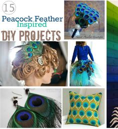 15 Make Peacock feather DIY Projects (Ideas). I especially like the headband for M and the wreath for me as I redecorate the house.