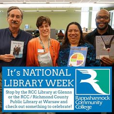 It's NATIONAL LIBRARY WEEK! Come by the RCC Library at Glenns or visit the RCC / Richmond County Public Library at our Warsaw Campus and check out something! http://ift.tt/1Vj7bSA #libraryweek #rappahannock #community #college #warsaw #warsawva #glenns  #nnk #northernneck #northernneckva #middlepeninsula #library