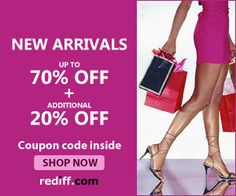 #MyDiscountOffer : New Arrivals Up to 70% OFF #Coupon Code Inside  Shop Now !! at Rediff.com. #shopping   Click here for your #Purchase