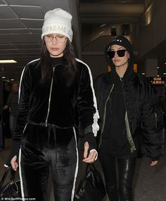 Natural beauties: Bella and Hailey seemed to go make-up free as they headed into London