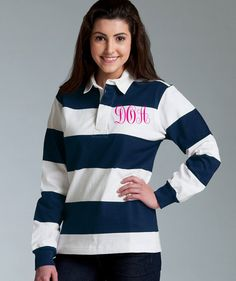 I want this so bad!! Monogrammed Classic Unisex PREPPY RUGBY shirt  by EmbellishThisLLC, $49.95