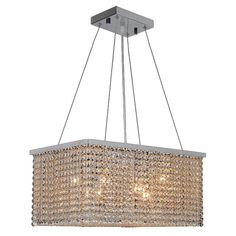 Worldwide Lighting W83749C20 Prism 8 Light Chrome Finish with Clear Crystal Chandelier - Rectangle Crystal Chandelier - Amazon.com