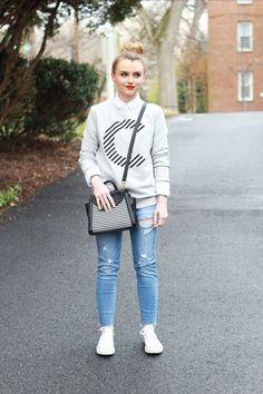 Poor Little It Girl - Initial Sweatshirt and Distressed Denim