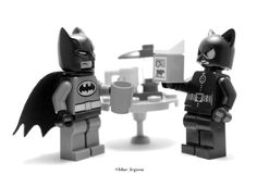 "-""How do you like your coffee hun?""  -""Black. Like the night. And I drinkdark roast only."" #Lego #Blue_Legoon #Batman #Catwoman #Coffee #DCComics"