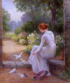 Feeding the Doves: Victorian watercolour painting by the artist Ernst Walbourn.