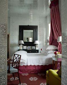 Pared back but pretty in the master bedroom.   - HarpersBAZAAR.com