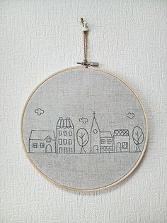 Hand embroidery in hoop Embroidery wall art house. via Etsy.
