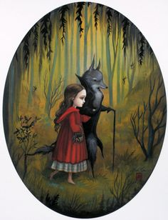 Little Red and the Wolf - A Proper Beast  Limited Edition Fine Art print by mabgraves