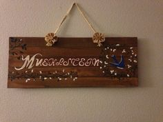 Homemade reclaimed wood name sign for my living room!