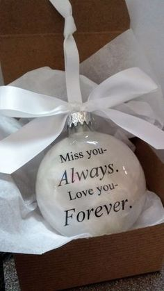Memorial Ornament Keepsake Gift - Miss You Always Love You Forever - In Memory Bereavement Sympathy Gift - Husband Memorial - Wife Loss Clear Ornaments, Diy Christmas Ornaments, Homemade Christmas, Holiday Crafts, Christmas Decorations, Christmas Ideas, Holiday Decor, Memorial Ornaments, Memorial Gifts