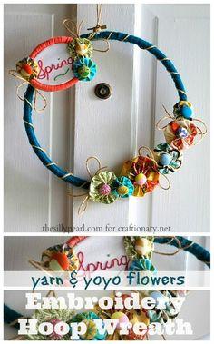 embroidery hoop wreath #yoyo_flowers #yarn