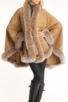 You know you will be warm in this Cashmere & Fur Cape