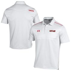 Maryland Terrapins Under Armor Football Sideline Polo - White