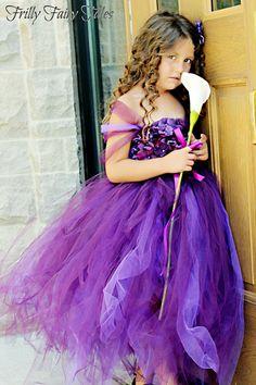 Plum/Purple Flower Girl Dress by FrillyFairyTales on Etsy