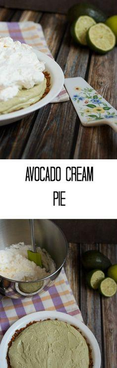 Avocado Cream Pie | girlinthelittleredkitchen.com