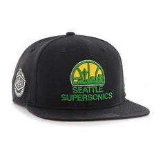 e4c984a8 Seattle Supersonics 47 Brand Black Retro 1975 Logo Sure Shot Snapback Hat  Cap