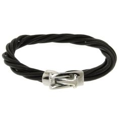 "8"" Men's Genuine Black Leather Bracelet With Stainless Steel Gem Stone King. $29.99. With Stainless Steel. Black Leather Bracelet. 8 inch. Save 81%!"