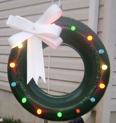 Lit tire wreath