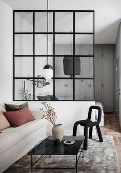 Industrial living room with glass partition. Source: Interior of the house at www. Industrial living room with glass partition. Source: Interior-house at www. room room room decoration ➳Myrt➳ on. Coastal Living Rooms, Small Living Rooms, Living Room Designs, Living Room Decor, Apartment Interior, Apartment Living, Apartment Design, Apartment Ideas, Vintage Apartment