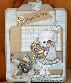 Love this card! Amazing colours palette! Digital stamp used http://justsomelines.com/shop/butterfly-bear-p-922.html