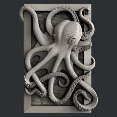 STL models for CNC octopus artcam aspire creature, available in STL, ready for animation and other projects Stl File Format, 3d Printer Designs, Octopus Art, Octopus Jewelry, 3d Printable Models, 3d Cnc, Cnc Wood, 3d Printing Service, Wood Carving Patterns