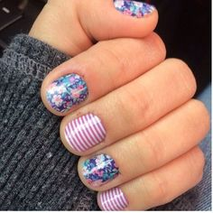 stripe flowers D.I.Y cute nail-art! Pink blue green purple mani pedi quick & easy nail designs cute!