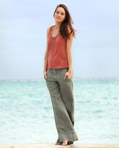 Image of Wide Leg Linen Trousers