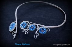 Flower Festival - polymer clay and wire torque necklace by Caprilicious Jewellery