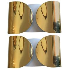 """Pair of Italian Tobia Scarpa """"Foglia"""" Wall Lights Vintage Wall Lights, Modern Wall Lights, Vintage Walls, Midcentury Wall Lighting, Lampe Applique, Contemporary Lamps, White Enamel, Polished Brass, Glass Shades"""